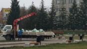 Работы на центральной площади города Назарово продолжаются