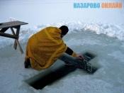 Город Назарово готовится к Крещению. Толщина льда на реке 70 см