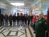 В городе Назарово состоялась первая отправка призывников