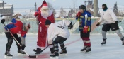 В преддверии Нового года Дед Мороз открыл турнир по хоккею