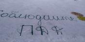 Живая инсталляция и предупреждающие граффити в городе Назарово