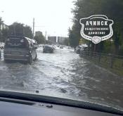 Соседний Ачинск затопило после сильного ливня